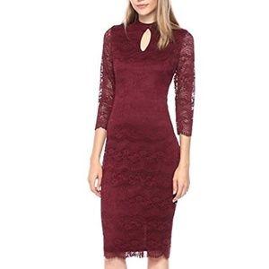 kensie Women's MIDI LACE Dress, Burgundy, 6